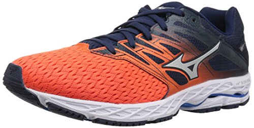 Mizuno Men's Wave Shadow 2 Running Shoe, Flame/Dress Blue, 11.5 D US