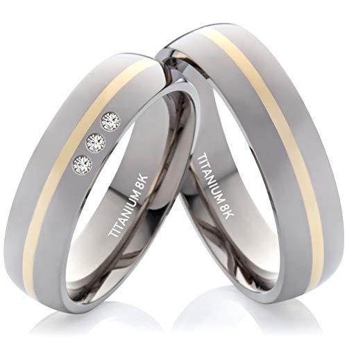 Eheringe Verlobungsringe Trauringe aus Titan und Gold mit 3 Diamanten Gratis Lasergravur TG375