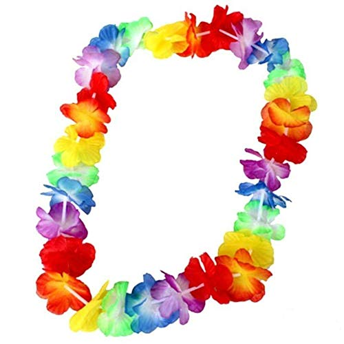 SHATCHI Pack of 10 Hawaiian Leis Garlands Colorful Flower Necklaces for Luau Hen Stag Decorations Accessories Party Bag Fillers