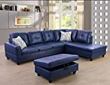 Ainehome Faux Leather 3 Piece Sectional Sofa Couch Set, L-Shaped Modern Sofa with Chaise Storage Ottoman and Pillows for Living Room Furniture, Right Hand Facing Sectional Sofa Set Blue