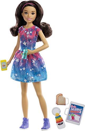 Barbie FXG91 - Skipper Babysitters Inc. Puppe mit braunen Haaren und Babysitting Zubehör, Puppen Spielzeug und Puppenzubehör ab 3 Jahren