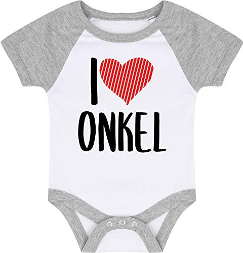 Kleckerliese Baby Body Baseball Kurzarm Sprüche Jungen Mädchen Motiv I Love Onkel, WhiteHeathergrey, 3-6 Monate