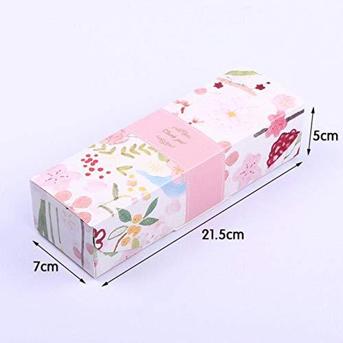 SJYM Linda Caja de Regalo de Plumas Turrón de mármol Cajas de Galletas Caramelo Piña Pastel Papel para Hornear Cartón Paquete de Envoltura de cumpleaños, 10 Piezas H