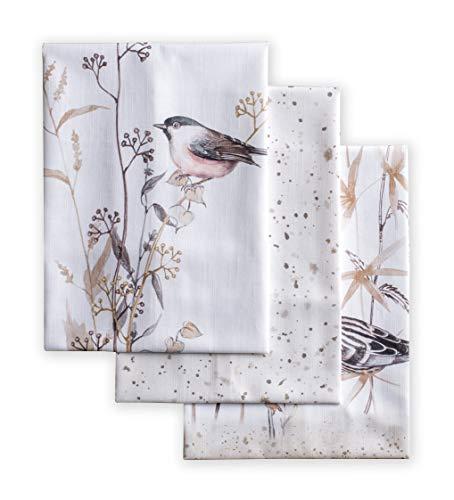 Maison d' Hermine Meadow Florals - Juego de 3 toallas de cocina multiusos 100% algodón, suaves y absorbentes, toallas de cocina (50 x 76 cm)