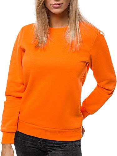 OZONEE Damen Sweatshirt Pullover Langarm Farbvarianten Langarmshirt Pulli ohne Kapuze Baumwolle Baumwollemischung Classic Basic Rundhals-Ausschnitt Sport JS/W01Z ORANGE XL