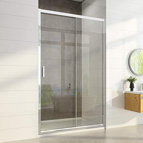 Nischentür Schiebetür 120 x 185 cm Duschabtrennung Dusche Duschwand Nischenschiebetür Duschtür Echtglas 6mm ESG Sicherheitsglas mit Nano Beschichtung