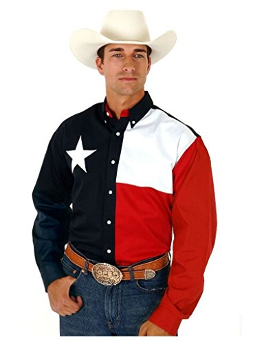 Roper L/S Pieced Texas Flag Shirt Natural MD