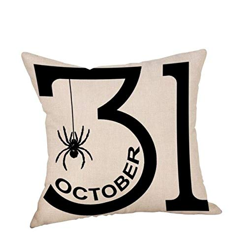 YYZCKW Fundas de Cojines Decorativo Throw Pillow Case Halloween Pumpkin Holiday Velvet Algodón Lino Hocus Pocus Trick or Treat Funda de cojín 45x45cm F