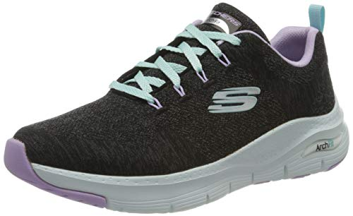 Skechers Arch Fit-Comfy Wave, Zapatillas Mujer, Negro (BKLV Black Knit/Lavender Trim), 38 EU