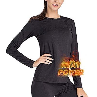 MANCYFIT Thermal Underwear for Women Long Johns Set Fleece Lined Ultra Soft (Black, Large (US 12-14))