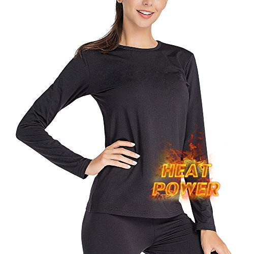 MANCYFIT Thermal Underwear for Women Long Johns Set Fleece Lined Ultra Soft (Black, Medium (US 8-10))