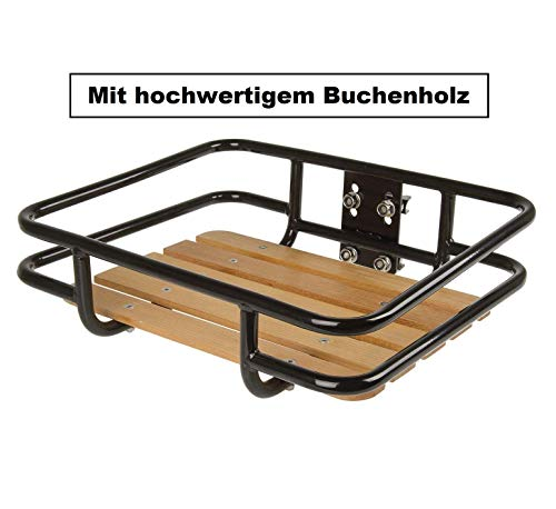 P4B | Vorderrad GEPÄCKTRÄGER mit Ladefläche | bequemer Transport des Gepäcks | Ladefläche (ca. 34,1 x 41,3 cm) | Gepäckträger für 24-28 Zoll Fahrräder (in Schwarz)