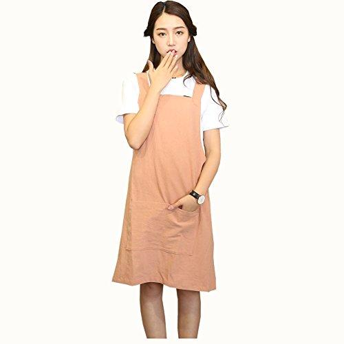 H Correas de hombro Delantal de lino de algodón suave Color sólido Halter Cross Bandage Delantales Japón Estilo X Forma Cocina Cocina Ropa Chef Ajuste Verano (Naranja Rojo)