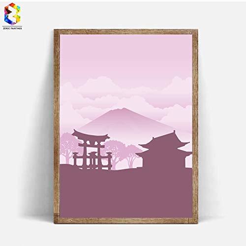 Geiqianjiumai Japanse inkt canvas kunstdruk poster aquarel wand decoratie zonder lijsting 50x70cm