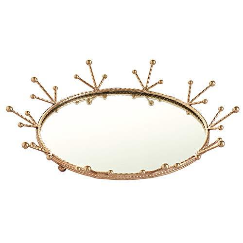 #N/A Kristall fåfänga kosmetisk bricka rektangel smycken arrangör smycken hållare bricka speglad dekorativa brickor (guld) – rund