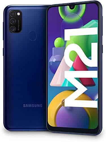 "Samsung Galaxy M21 - Smartphone Dual SIM de 6.4"" sAMOLED FHD+,Ttriple Cámara 48 MP, 4 GB RAM, 64 GB ROM Ampliables, Batería 6000 mAh, Android, Versión Española, Color Azul"