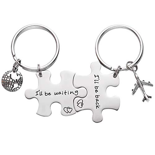 I'll Be Back I'll Be Waiting Puzzle Keychain