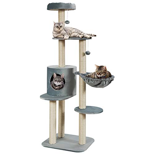 "Tangkula 56.5"" Multi-Level Cat Activity Tree, Kitten Climbing Tower with Sisal-Covered Scratching Posts, Plush Perch, Condo & Basket Lounger, Pet..."