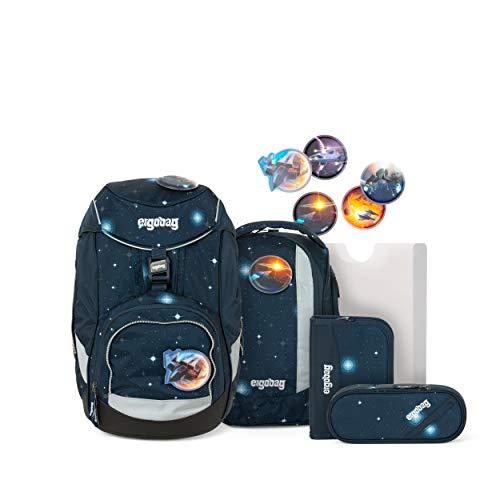ergobag pack Set - ergonomischer Schulrucksack, Set 6-teilig - KoBärnikus Glow - Blau
