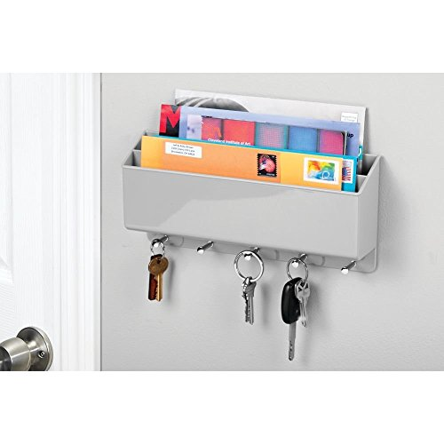 mDesign Mail, Letter Holder, Key Rack Organizer for Hallway, Entryway, Kitchen - Wall Mount, 2 Sections, Gray