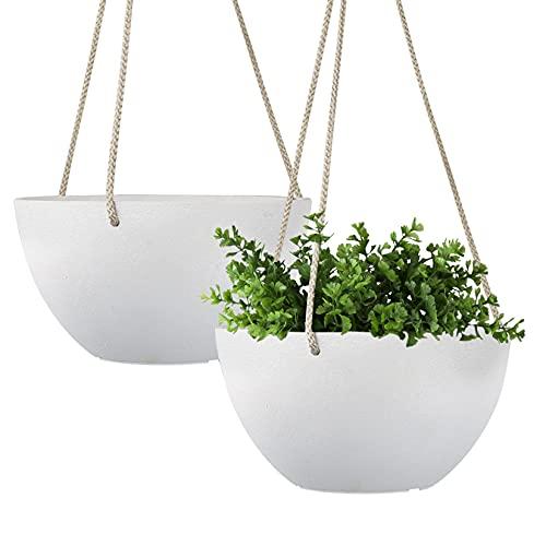 LA Jolie Muse Vasi per Piante da Esterno da appendere-20.5CM Vaso da Interno, Colore:Bianco Puro 2 PCS