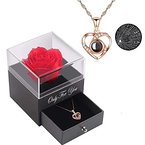 Handgefertigte konservierte Rosen schmuck-Geschenk Box mit Splitter Halskette für sie, Rosen Geschenke für Frauen für Valentinstag, Muttertag, Jahrestag, Geburtstag für Mutter, Schwester, Ehefrau