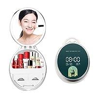 化粧鏡 化粧ミラー LEDライト付き 折りたたみ 明るさ調節可能 タッチセンサーLEDミラー USB充電 プレゼント 贈り物 ギフト コスメティックラック-グリーン+時計&温度