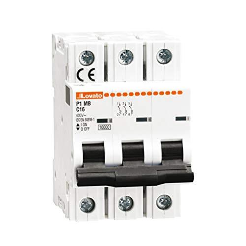 Interruptor magnetotérmico curva D, 3 polos 16A 10 kA, 8,4 x 5,4 x 25 centímetros, color blanco (Referencia: P1MB3PD16)