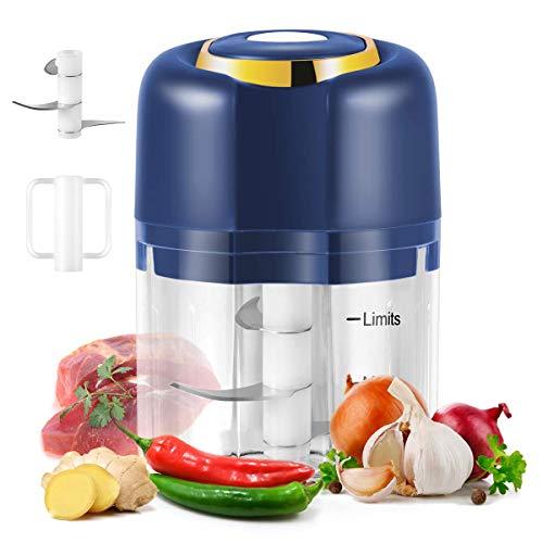 Electric Mini Garlic Chopper, USB Charging Portable Electric Garlic Chopper , Mini Food Processor for Baby Food, Garlic, Chili, Onion, Meat