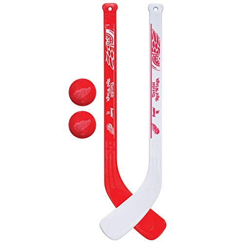Franklin Sports Detroit Red Wings NHL Mini Hockey Stick Set - NHL Team Knee Hockey Stick and Ball Set - Two Player Stick Set - Great Toy for Kids