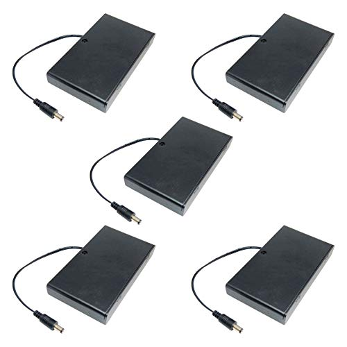KYYKA Caja de soporte de batería AA con interruptor de encendido/apagado (5 unidades, 2,1 x 5,5 mm, 8 x 1,5 V, 12 V)