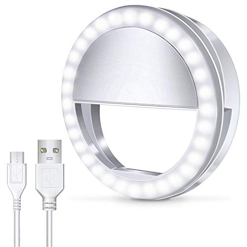 Meifigno Phone Selfie Ring Light, [Rechargeable] with 36 LED Lights, 3-Level Adjustable Brightness Clips On Makeup Light for iPhone X Xr Xs Max 7 8 Plus 11 12 Pro Android iPad Laptop Samsung, White