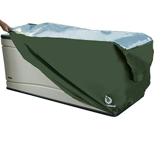 YardStash Heavy Duty Waterproof Deck Box Cover Protects from Outdoor Rain Wind and Snow Extends Lifetime of Storage Box with UV Protected RipStop 210D Heat Shield 600D Polyester