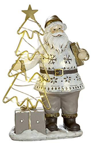 dekojohnson - LED Weihnachtsmann Deko-Figur Beige Braun 23cm groß - Nostalgie Deko Santa Clause Nikolaus mit Tannenbaum