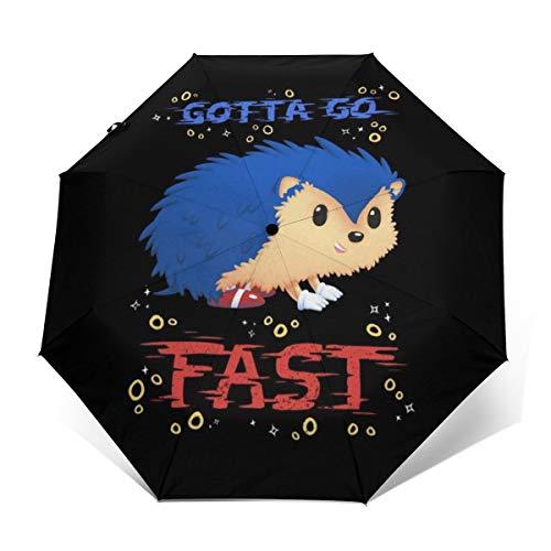 Gotta Go Fast Sonic The Hedgehog Paraguas Plegable Compacto de Apertura y Cierre automático, Plegable