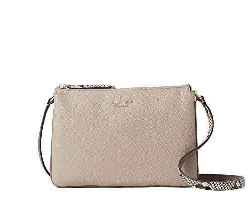 Kate Spade Jackson Triple Gusset Leather Crossbody Bag Purse Handbag (Neutral Multi/Grey)