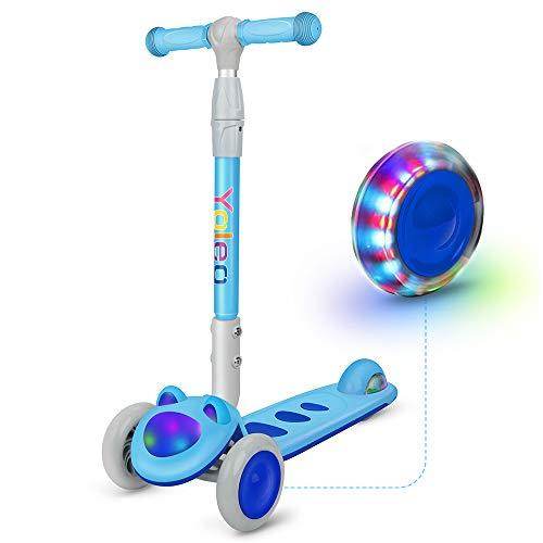 YOLEO Kinder Roller Scooter Kinderscooter Dreiradscooter mit LED große Räder und Rollerfront, Höheverstellbare Lenker für Kleinkinder Jungen Mädchen ab 2Jahre, bis 50kg belastbar, Süße Kätzchen (Blau)