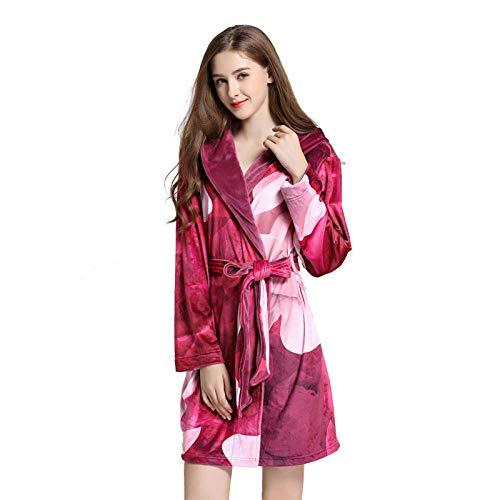 lzp Outer enkele nachtjapon vrouwen herfst en winter flanel badjas verdikte pyjama yukata herten capuchon warm thuis service