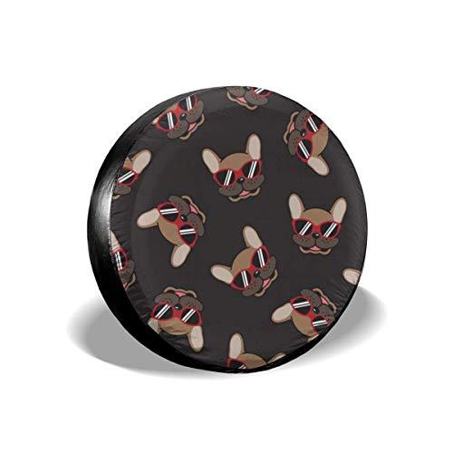 AEMAPE Cubierta para llanta de Repuesto, Gafas de Sol Patrón de Bulldog francés Cubiertas de Rueda Impermeables a Prueba de Polvo