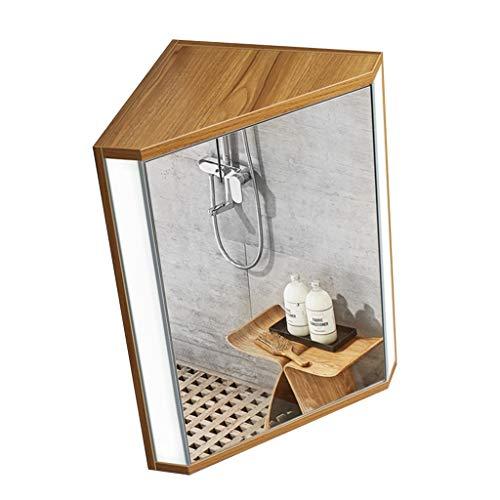 Spiegelschränke Bad Dreieckspiegelschrank Bad Eckspiegelschrank Beleuchtung, Wandbehang (Color : Wood, Size : 47 * 60 * 33cm)