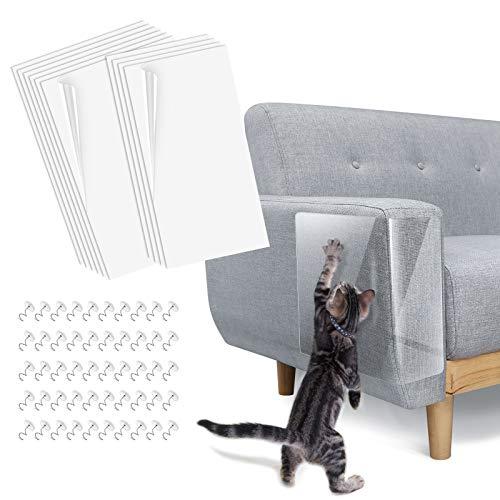 Lewondr 10PZS Alfombras Protectoras de Muebles, Almohadillas Autoadhesivas Transparentes para Gato, Protector Repelente Antirrasguños de Mascotas para Muebles, Puertas, Paredes de Madera, Sofá, Blanco