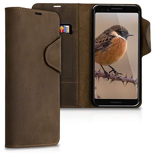 kalibri Wallet Hülle kompatibel mit Google Pixel 3 - Hülle Leder - Handy Cover Handyhülle in Braun