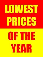 Lowest Prices Of The Year Display Retail Sign18w x 24hFull Color 5 Pack [並行輸入品]