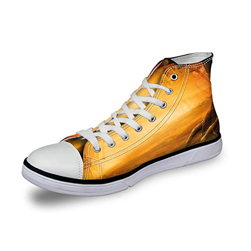 GULTMEE High Top Classic Casual Canvas Sneakers Schnürschuhe Casual Walking Schuhe, Mystic Asian Mandala Zen Culture Chakra Karma Ruhe und Harmonie Icon Boho-Design – Damen, (5), 43 EU