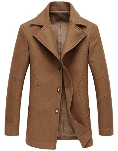chouyatou Men's Classic Notched Collar Double Breasted Wool Blend Pea Coat (Medium, Single-Camel)