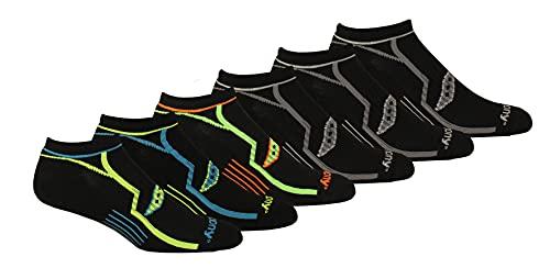 Saucony Men's Multi-Pack Bolt Performance Comfort Fit No-Show Socks, Black (6 Pairs), Shoe Size: 8-12