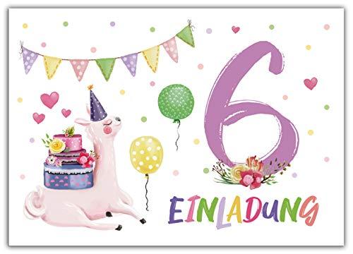 Junaversum 12 Einladungskarten zum 6. Kindergeburtstag Mädchen Lama Einladungen sechste Geburtstag