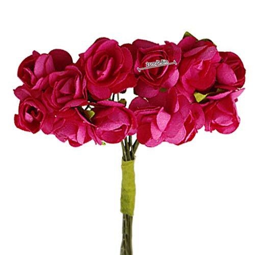 teng hong hui 144pcs Artificial Flower Heads Simulation flower DIY artificial Rose Garland Wreath Craft DIY Paper Flower Kit, Rose Red