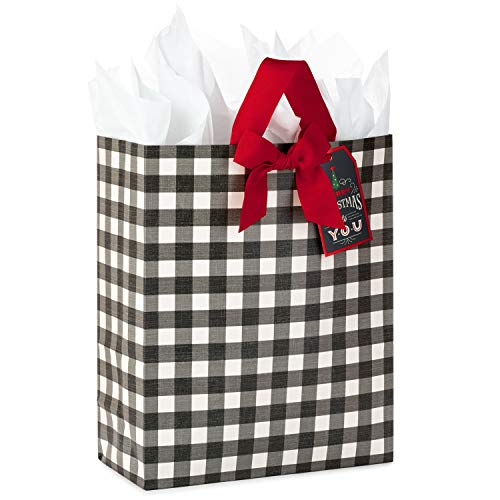 Hallmark 15' Extra Large Christmas Gift Bag with Tissue Paper (Black Buffalo Plaid with Red Bow)