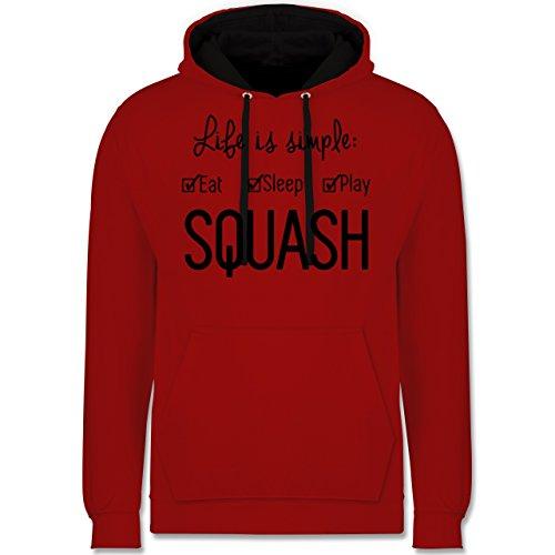 Shirtracer Tennis - Life is Simple Squash - L - Rot/Schwarz - Tennis - JH003 - Hoodie zweifarbig und Kapuzenpullover für Herren und Damen